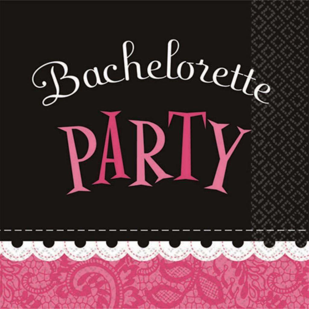 Bachelorette party pink, brown, and white invitiation