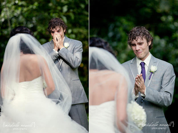 Groom's Reaction to seeing bride in her dress for the first time
