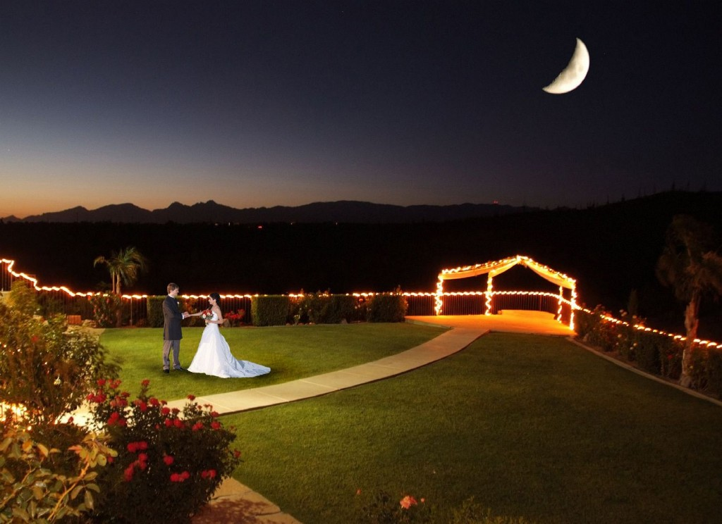 Outdoor nighttime wedding at Saguaro Buttes
