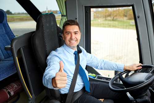 Happy Driver Driving Bus And Snowing Thumbs Up Limo Service Phoenix Party Bus Phoenix